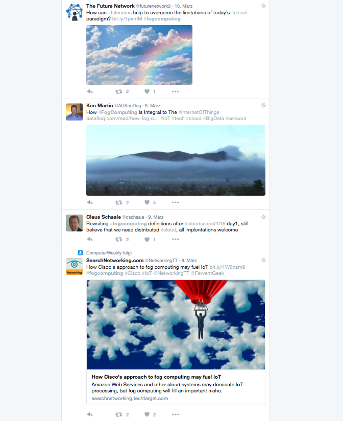 Klares Marktthema - das denkt die IT-Welt über den Fog. Quelle: #fogcomputing via Twitter.