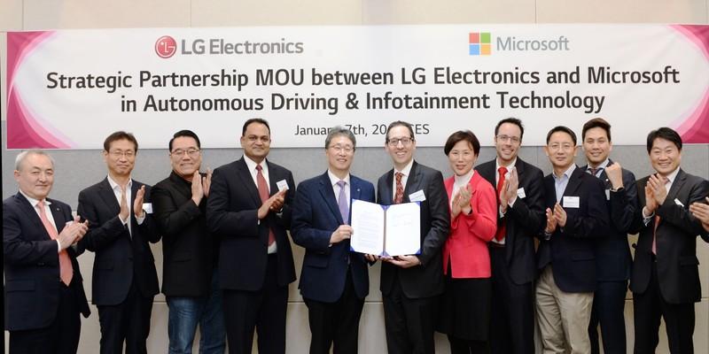 Strategische Partnerschaft zwischen LG Electronics und Microsoft im Bereich Autonomes Fahren & Infotainment Technologie(Quelle: LG)